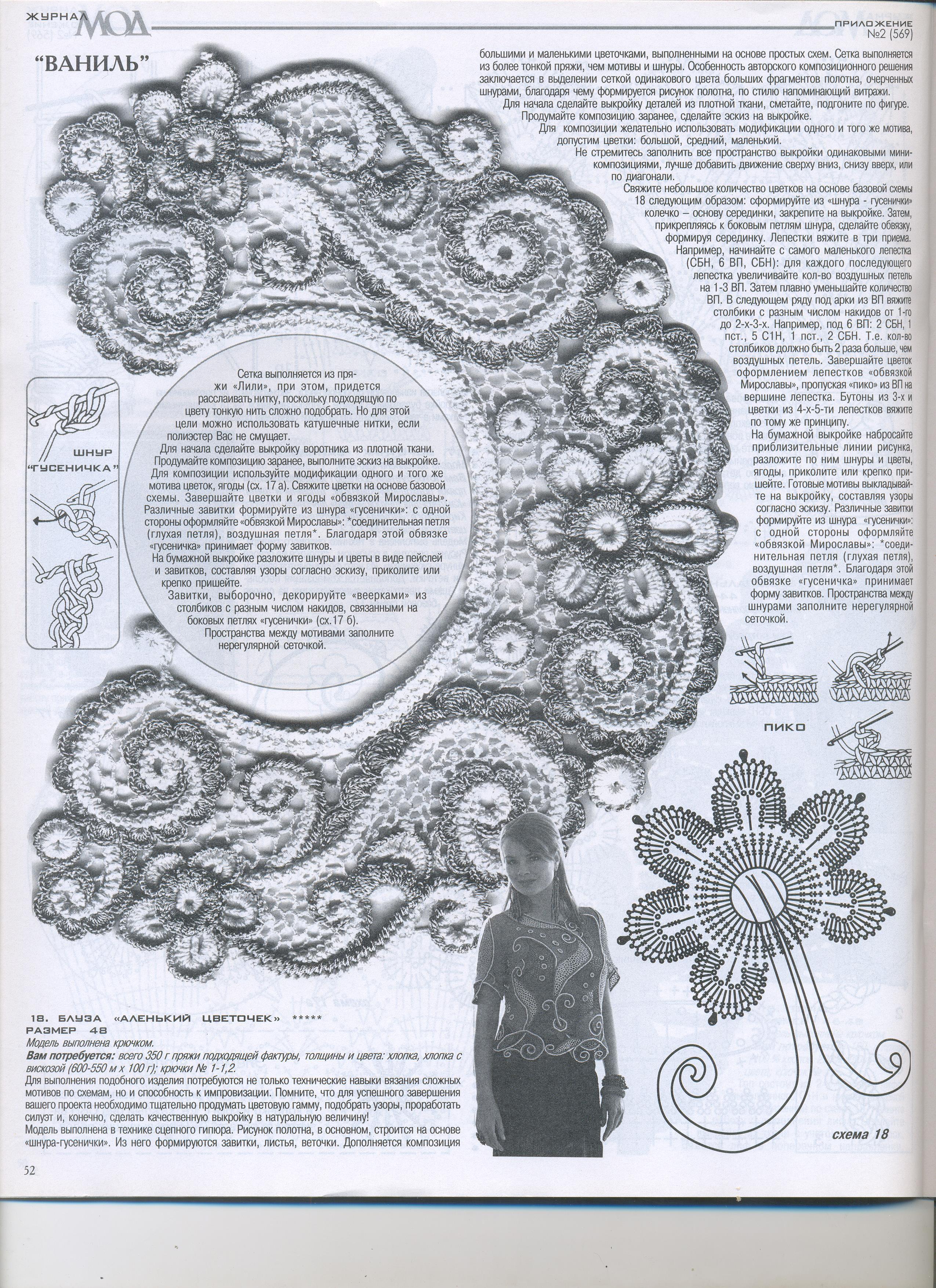 Воротнички крючком схемы ирландское кружево